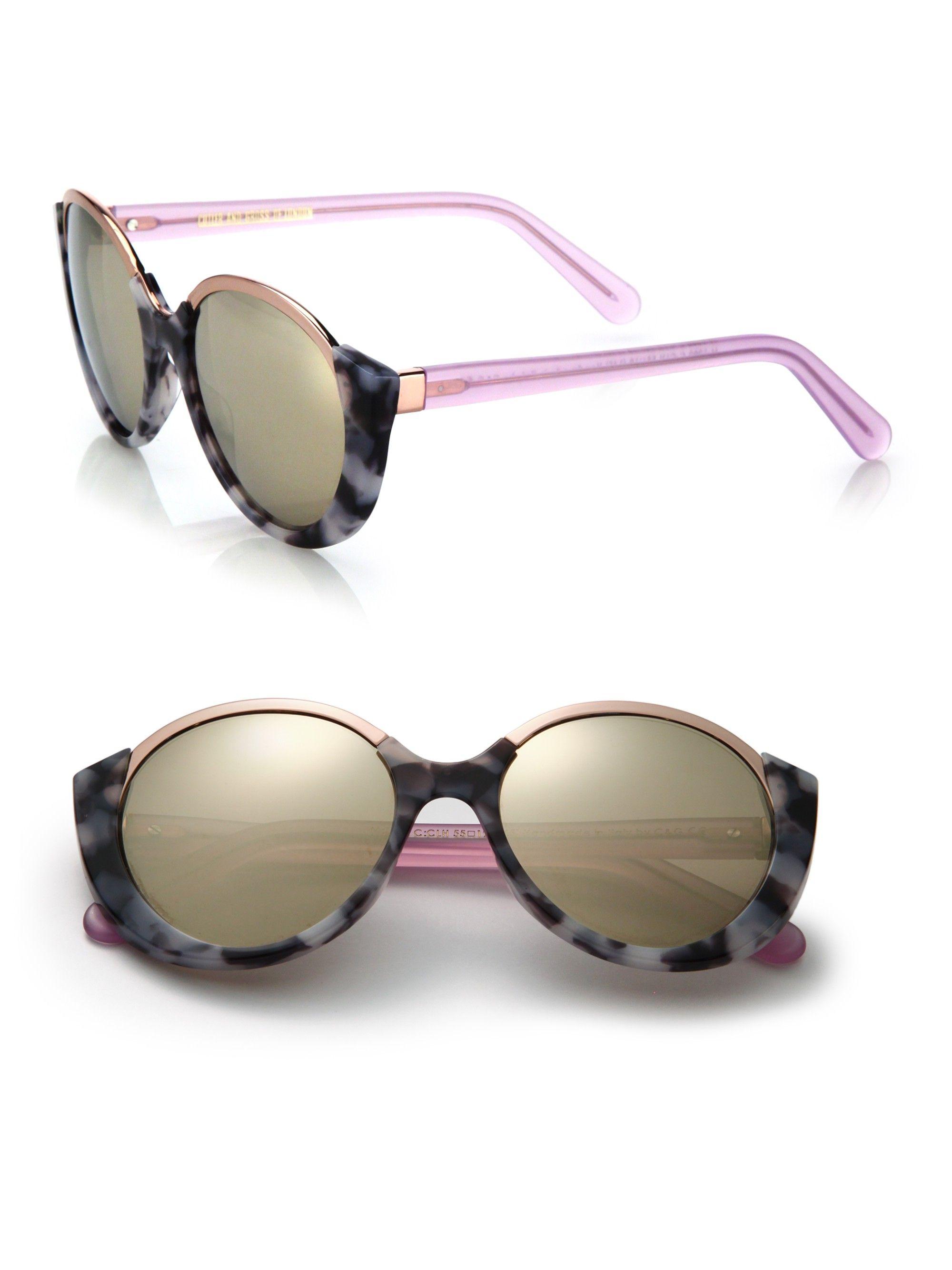 1e75e4a1bb Cutler And Gross 1202 Mai Tai 55Mm Acetate   Metal Sunglasses - Cloudy  Havana One Size