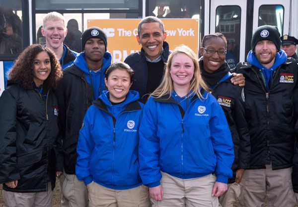 President Barack Obama Poses With Fema Corps Members During A