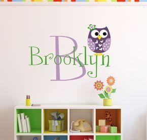 Personalized Owl Wall Decal - Name Wall Decal - Owl Nursery Decor - Girls Owl Wall Decal  sc 1 st  Pinterest & Personalized Owl Wall Decal - Name Wall Decal - Owl Nursery Decor ...
