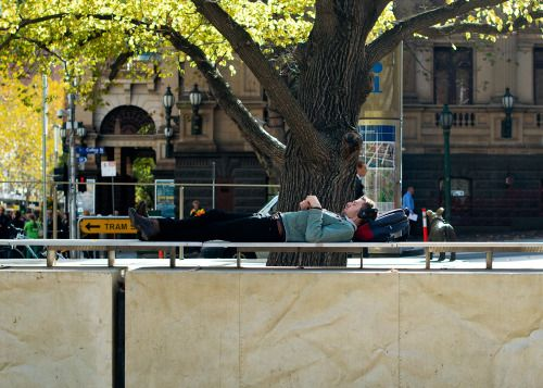 http://chicerman.com  meninthistown:  Under a Melbourne tree.  #streetstyleformen