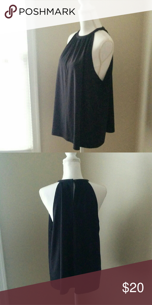 Venezia Black Slinky Tank 22/24 Size 22/24 Venezia black flowy high neck tank. Show off those collarbones while covering the goods, this is a classy, feminine look that can be dressed up or down! Venezia Tops Tank Tops
