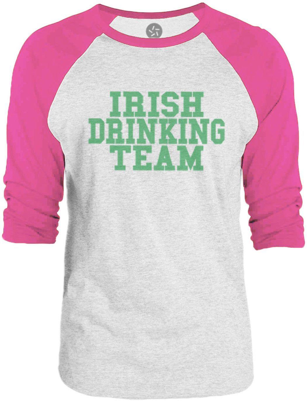 Big Texas Irish Drinking Team (Green) 3/4-Sleeve Raglan Baseball T-Shirt