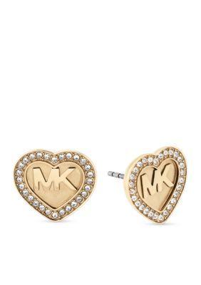 Michael Kors Jewelry  Gold-Tone Logo Heart Stud Earrings