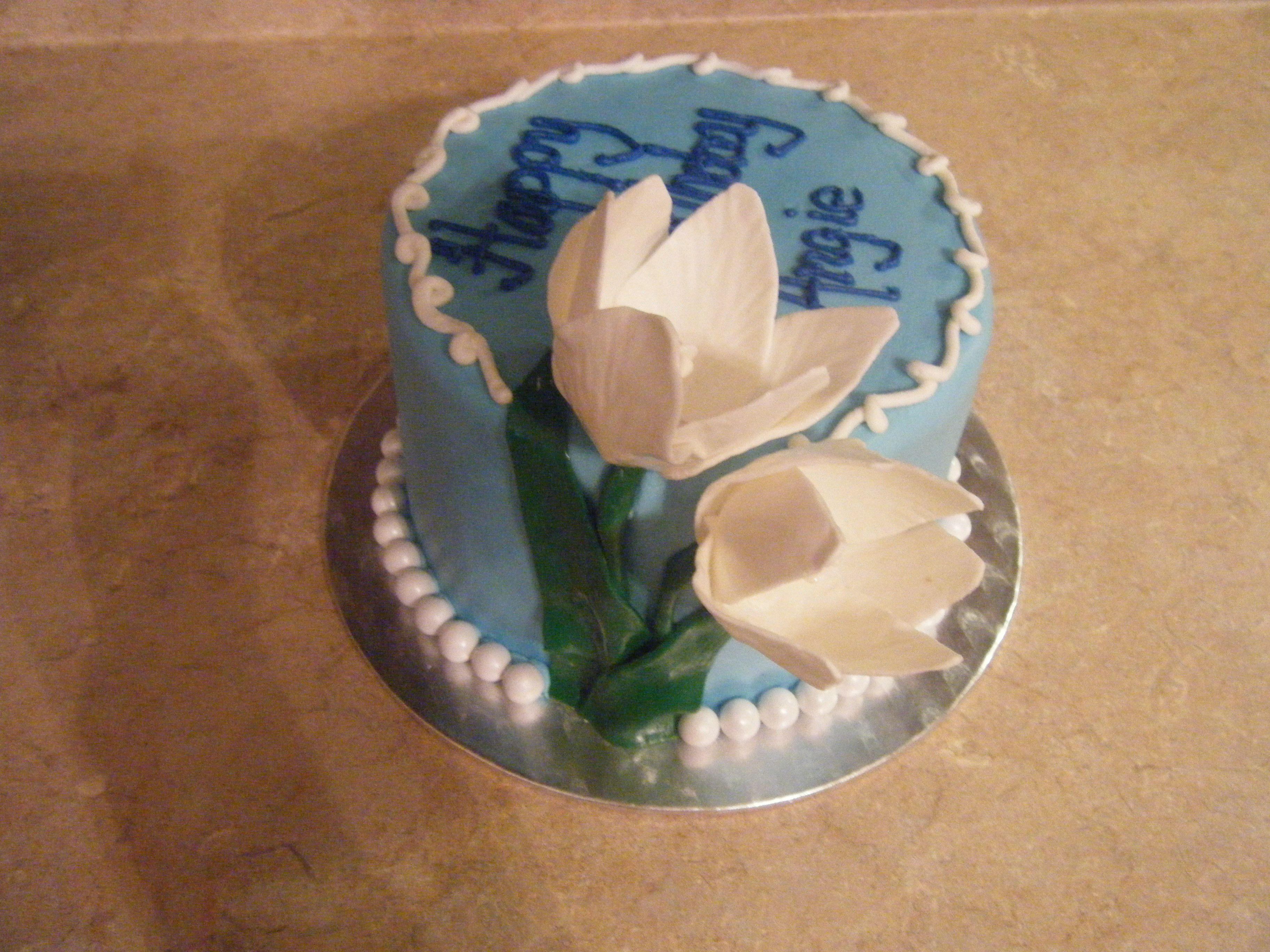 Small Birthday Cake With Gumpaste Tulips