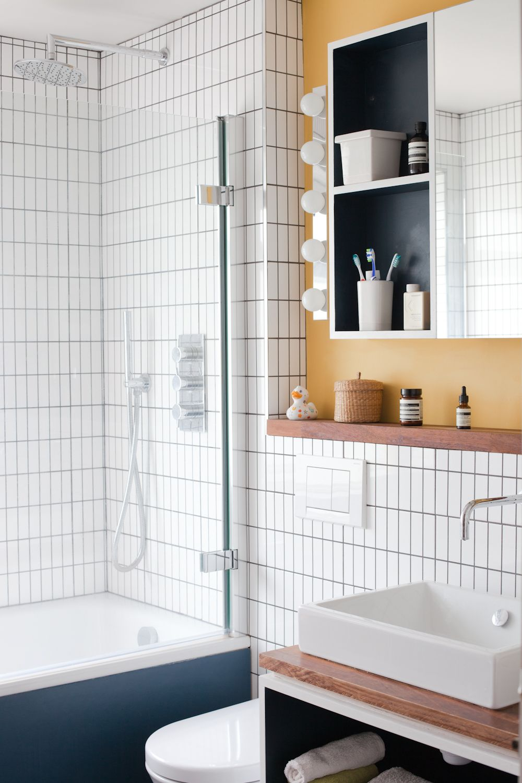 bathroom - Ikea lighting, Catalano sanitaryware, bath, blue