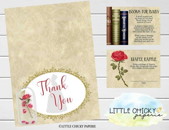 Beauty & the Beast Baby Shower Invitation Set with Books for baby cards, diaper raffle cards and thank you cards