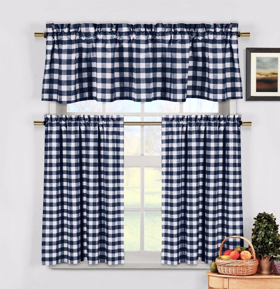 Navy Blue 3 Pc Kitchen Curtain Set Plaid Checkered Gingham 1
