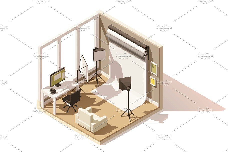 Vector isometric low poly Photo studio room icon poly