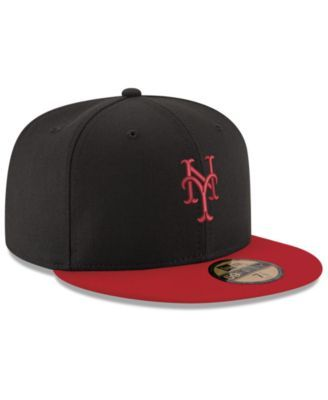 New Era New York Mets Black & Red 59FIFTY Fitted Cap - Black/Red 6 7/8