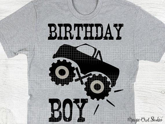 Birthday Boy Grunge Style Text Svg Monster Truck Svg Birthday T Shirt Printing Monster Truck Digital Monster Trucks Boy Birthday Cricut