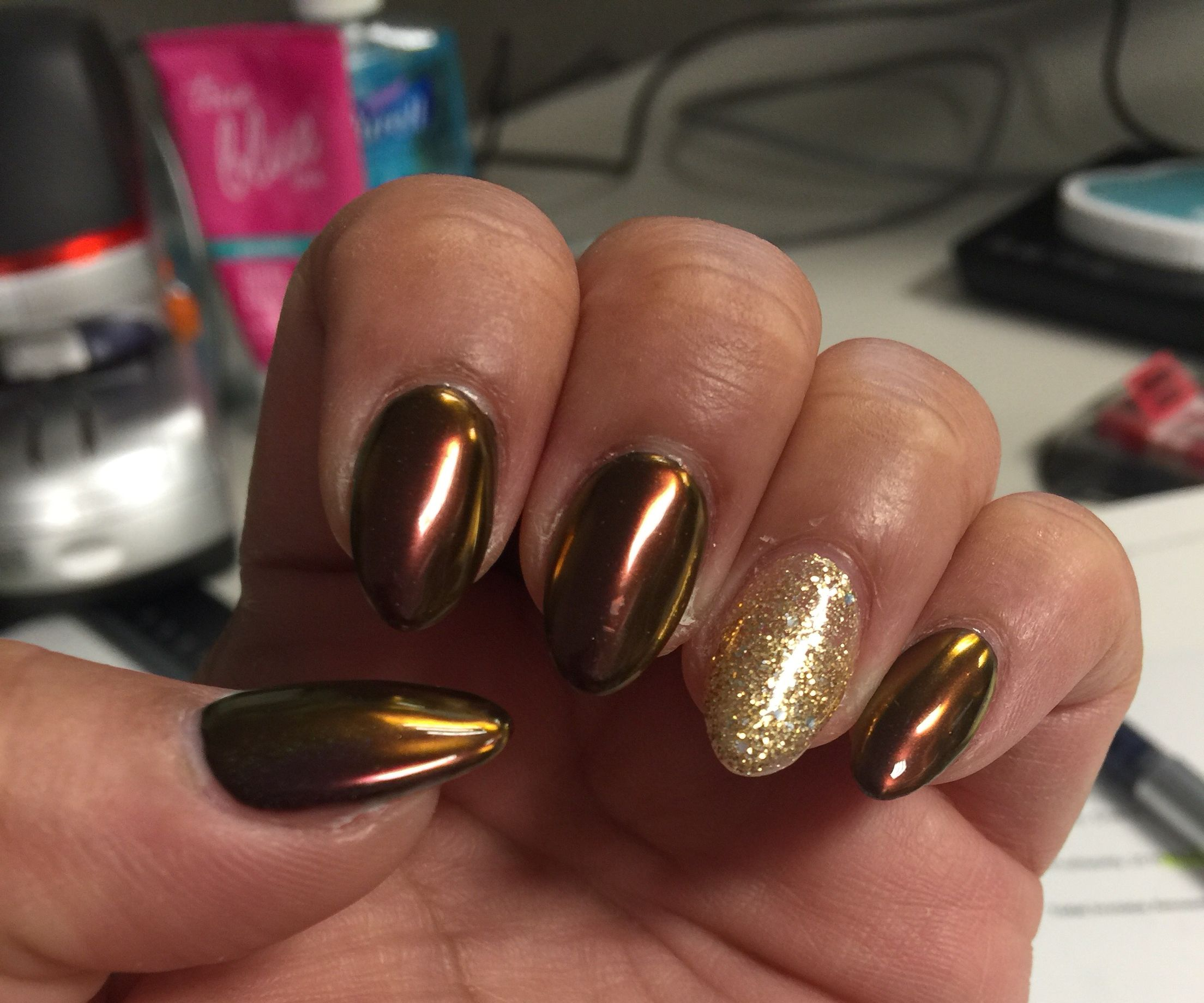 Fall chrome almond nail design | Nail designs | Pinterest