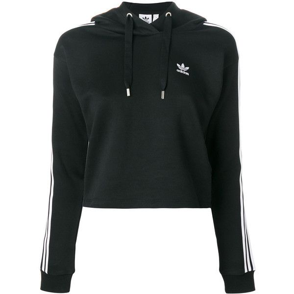 Adidas 3 stripes cropped hoodie ($90) ❤ liked on Polyvore