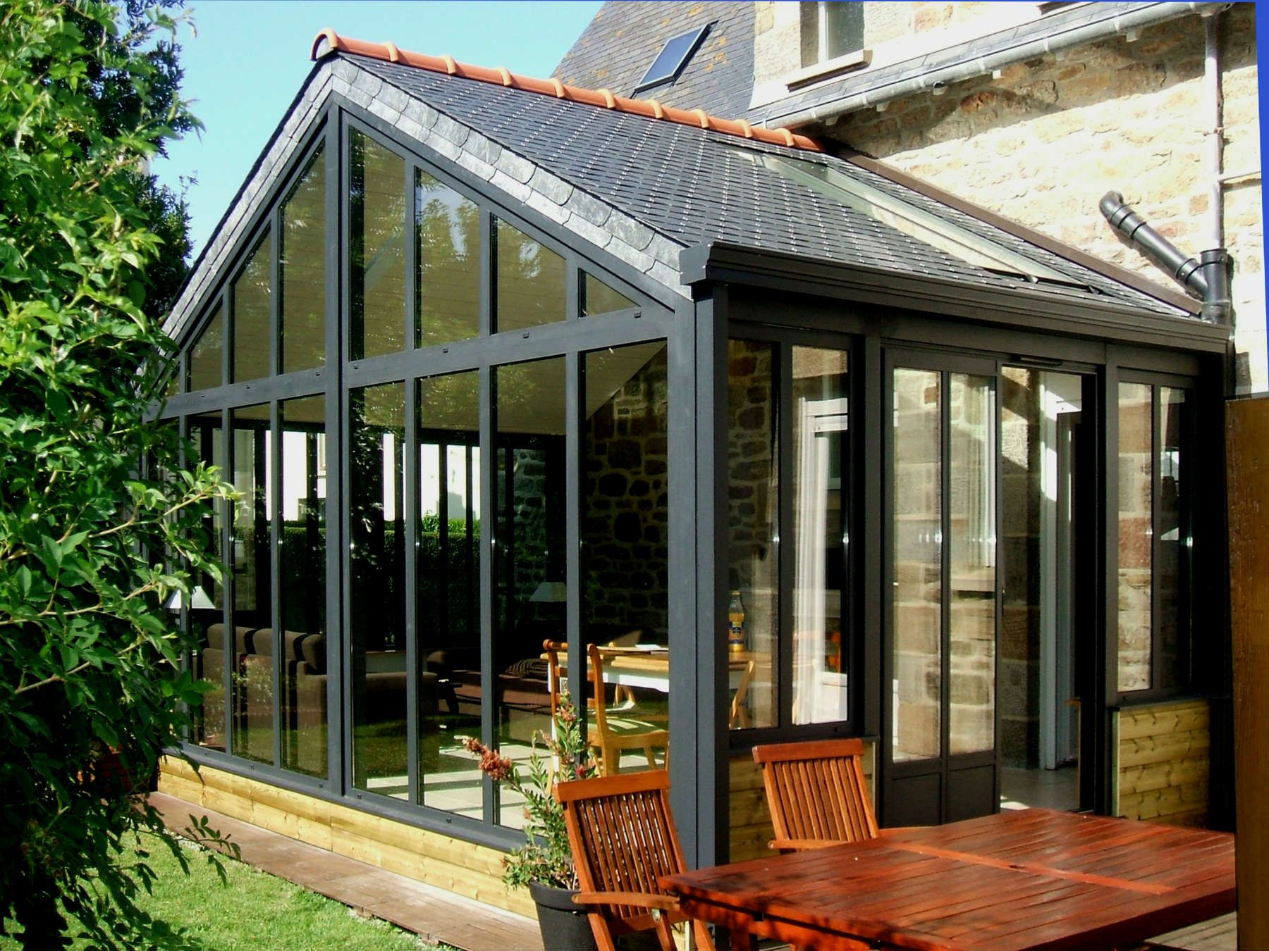 Extension toiture double pente2 greenhouse pinterest for Toiture extension maison