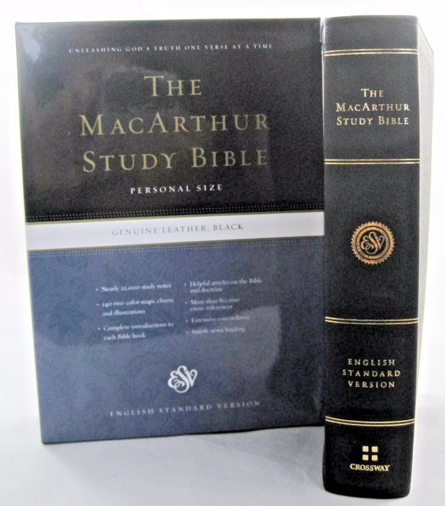 Esv The Macarthur Study Bible Personal Size Black Genuine Leather - Online Study Bible Esv
