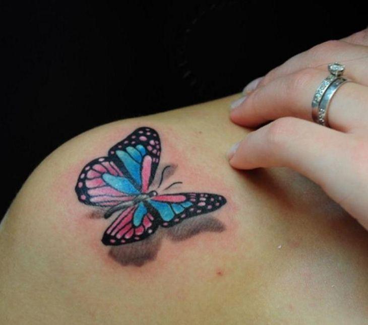 Schmetterling Tattoo Bunt 3d Schulter Rosa Blau Alex Tattoos 3d