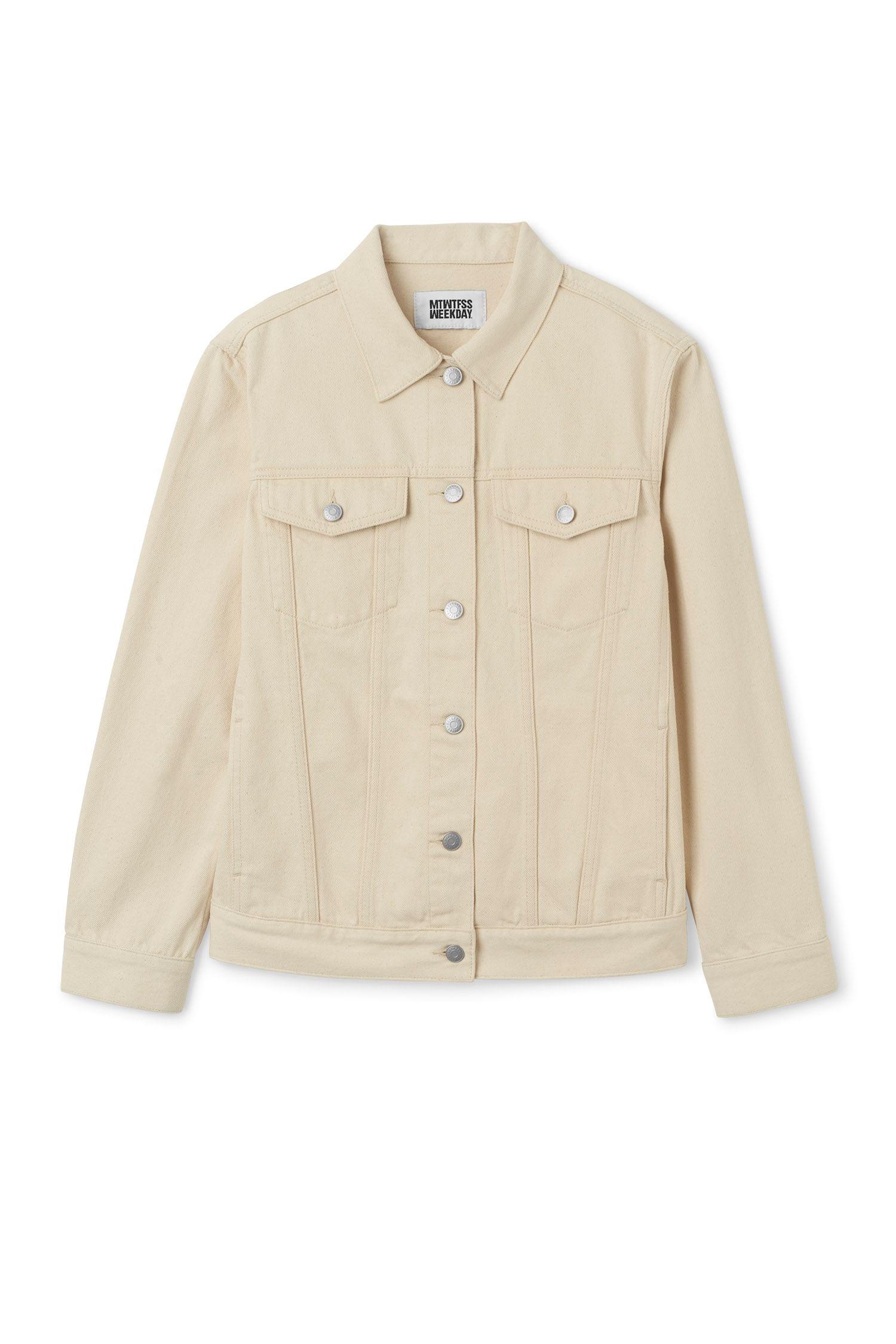 Weekday Image 1 Of Double Denim Jacket Ecru In Beige Light Brown Denim Jacket Denim Jacket Men Brown Jean Jacket [ 2250 x 1500 Pixel ]