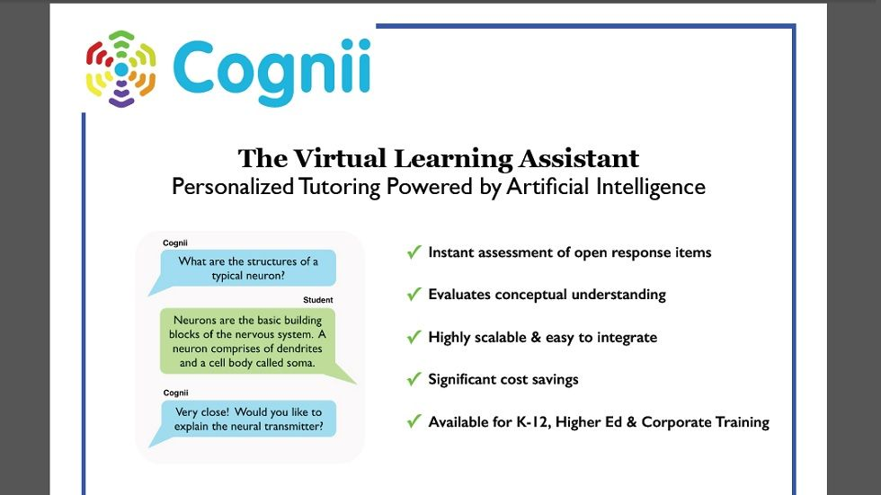 Cognii Launches Virtual Learning Assistant For The Education Market Education Tech Education Educational Technology