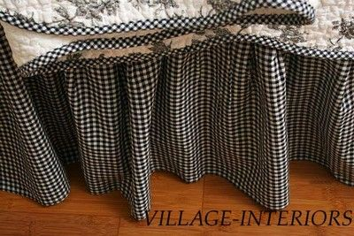French Country Black White Gingham Check Twin Ruffled