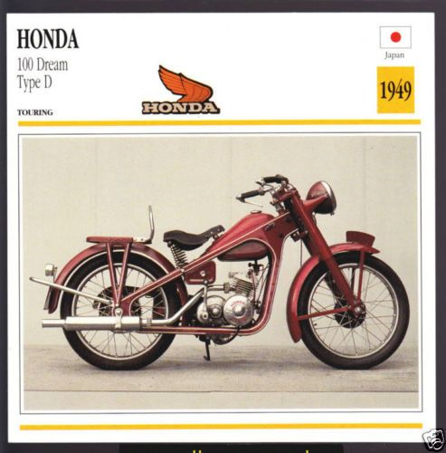 1949 Honda 100cc Dream Type D Japan Bike Motorcycle Photo Spec Info Stat Card Honda Motorcycle Classic Honda Motorcycles