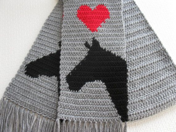 Gray Horse Scarf. Grey knit and crochet scarf, with horses ...