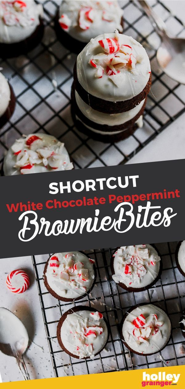 White Chocolate Peppermint Brownie Bites Need an easy holiday dessert recipe? Festive, delicious an