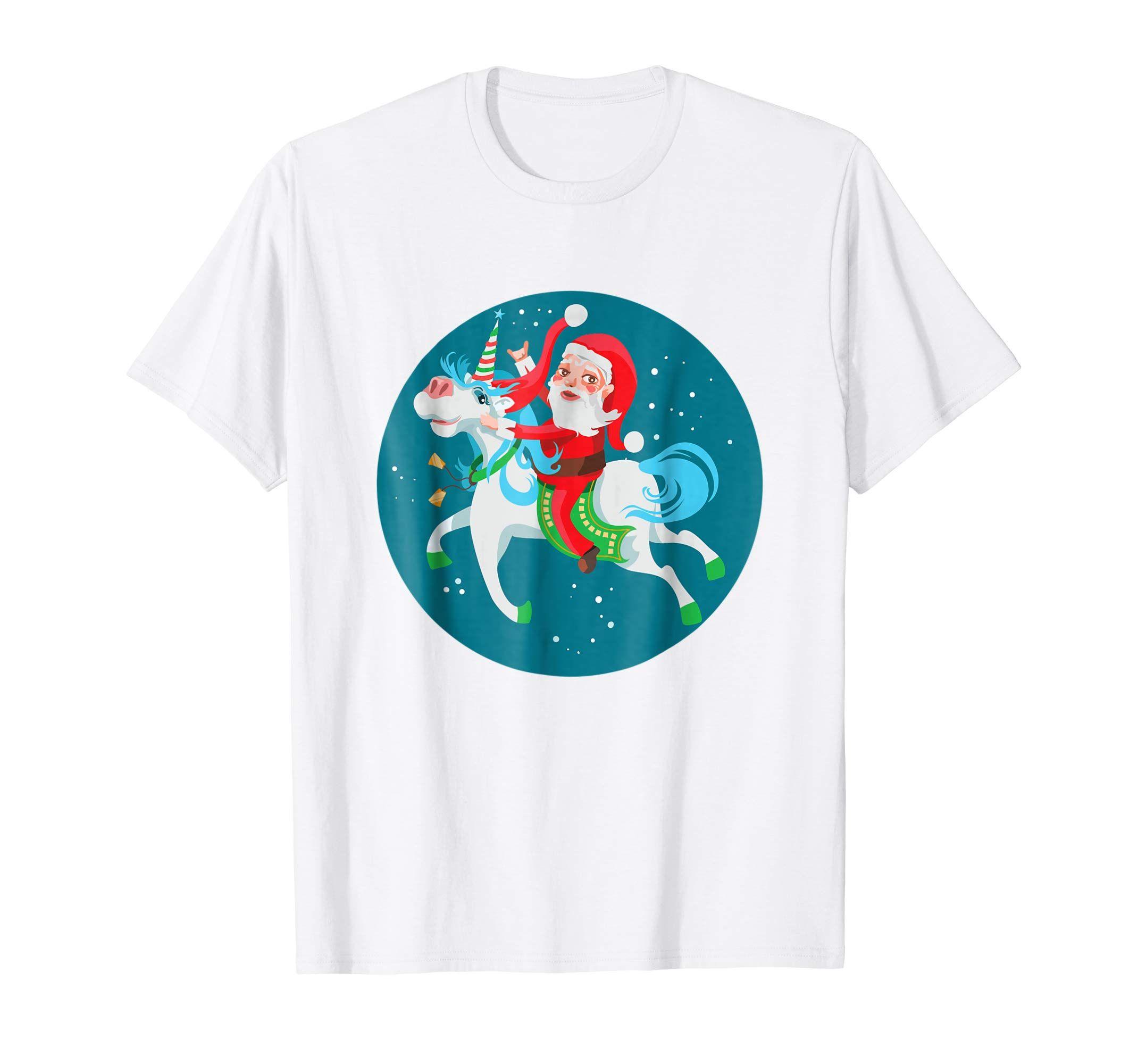 Kids Christmas t shirt boys girls tshirt xmas santa claus riding a unicorn
