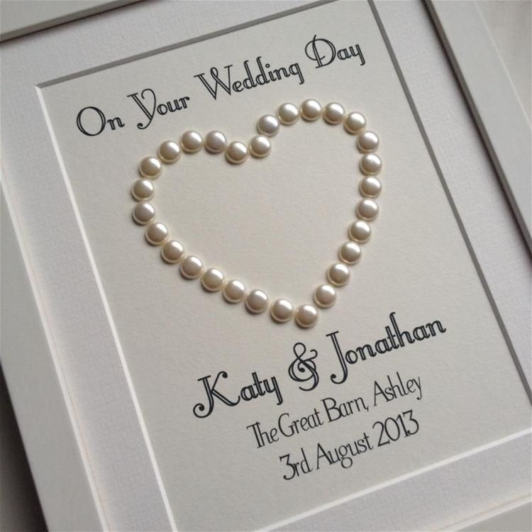 Ideas For Pearl Wedding Anniversary Gifts: Wedding Day Gift Personalised Pearl Heart On Cream Card