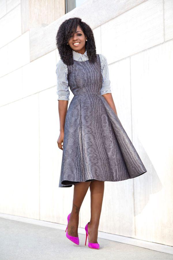 51f9c73d8b37 Striped Shirt + Fit & Flare Midi Dress (Style Pantry)   Fashion I ...