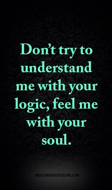 Dont Try To Understand Me With Your Logic Feel Me With Your Soul