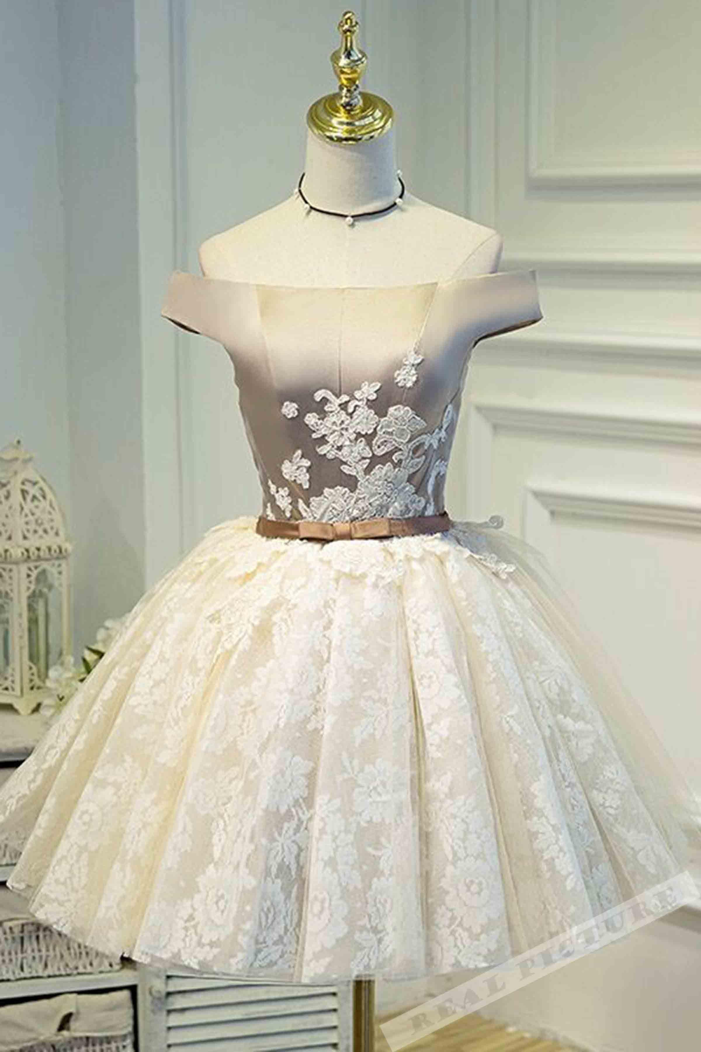 Ivory tulle lace applique satin offshoulder aline short dressprom