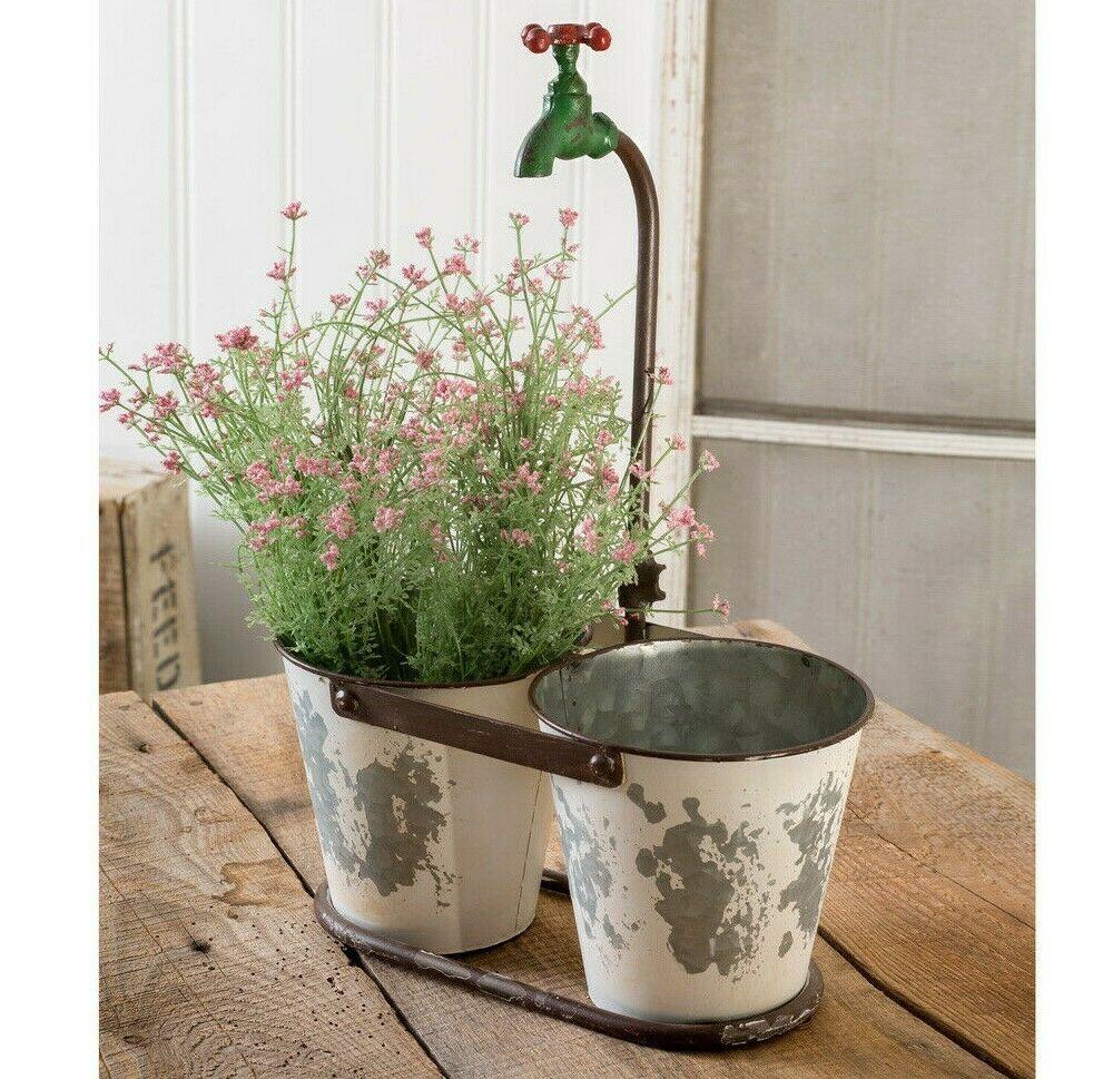 Farmhouse Double Faucet Planter Flower Pot Bucket Primitive Vintage Style Metal Ctw Faucet Planter Planters Bucket Gardening