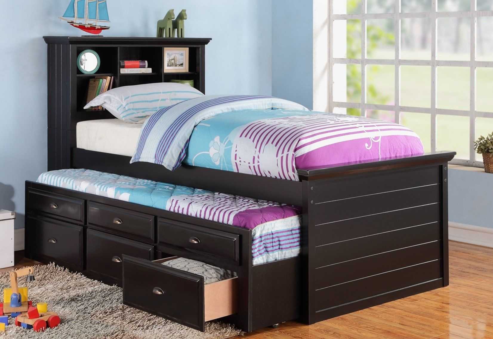 Twin Black Bed With Trundle In 2021 Twin Trundle Bed Trundle Bed With Storage Bookcase Bed Cheap twin beds with trundles