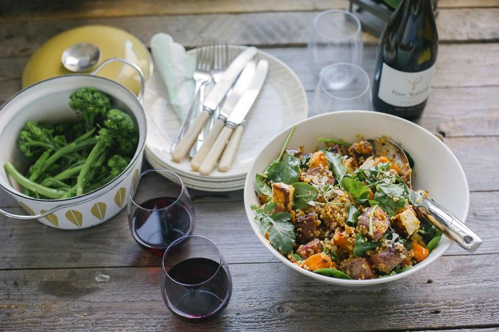 Bulgur wheat salad with haloumi, kumara and beef A scrumptious and filling salad. For a vegetarian option, simply use vegetable stock and omit steak.