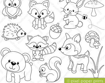 simple animal line drawings for inspiration - Baby Forest Animals Coloring Pages