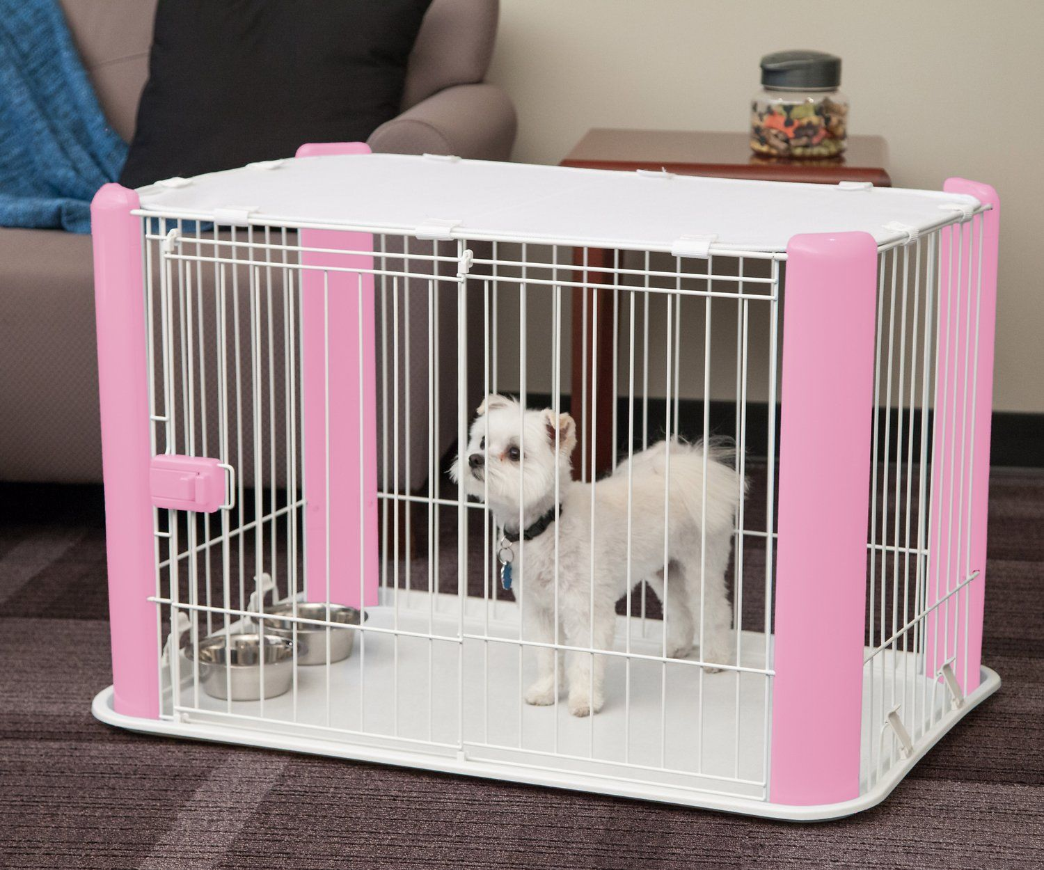 The Iris Pet Wire Play Pen With Mesh Roof Lets Your Dog Play Safely While You Get Things Done Around The House This Pen Fea Dog Playpen Pet Playpens Dog Crate