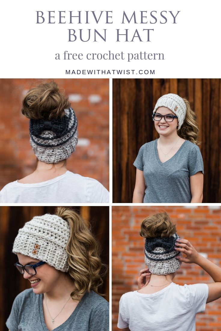 So cute! Free Crochet Pattern for the Chelsea Beehive Messy Bun Hat from Made with a Twist! It even comes with an optional upgrade to make it with stripes and a bow! #beehivebunhat #messybunhat #freecrochetpattern #crochetpattern #crochetpatternmessybunhat #ponytailhatcrochetpattern #ponytailhatpattern #ponytailhat #bunhatpattern #messybunhat