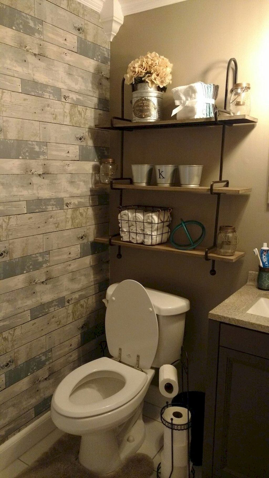 80 Affordable Rustic Bathroom Storage Ideas images