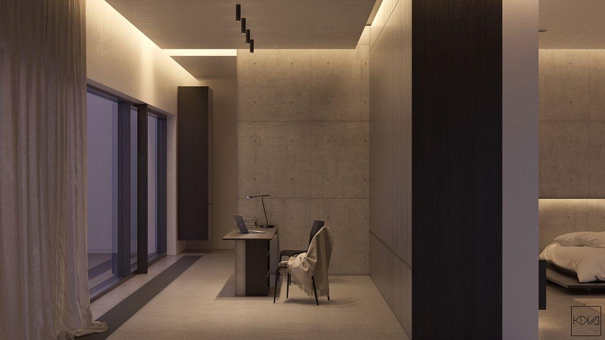 Home-office-innenarchitektur inspiration  minimalist monochromatic homes with modern lighting  dividing