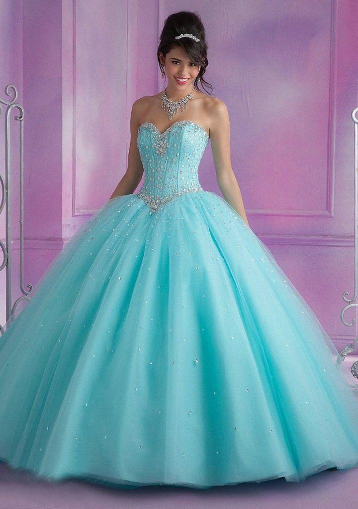 0145ac9c4 Resultado de imagen para vestidos de 15 corte princesa azul pastel ...