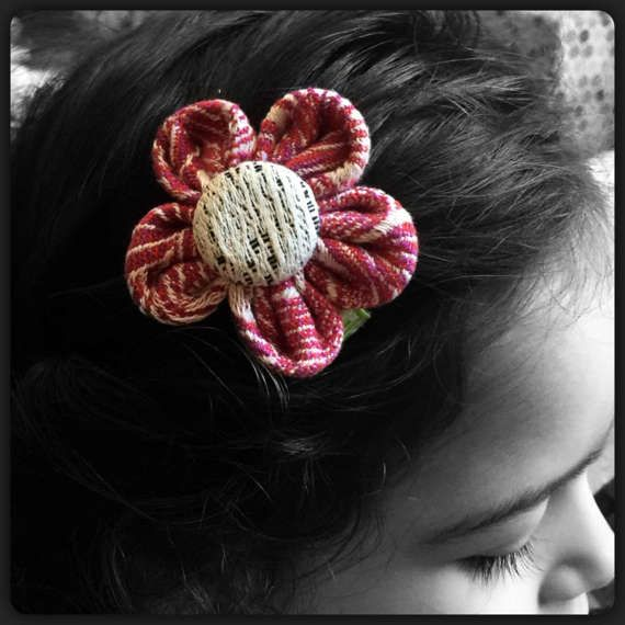 Wrap Scrap Flower Clip by SadiesBigBowBoutique on Etsy