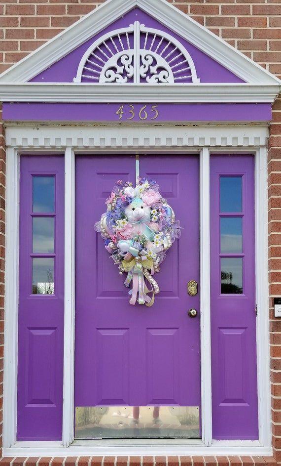 Photo of Rascally Rabbit Door Wreath XL, Nursery Room Decor, Pastel Bunny Wreath, Bunny Wall Decor, Spring Floral Wreath, Pastel Rainbow Spring Decor