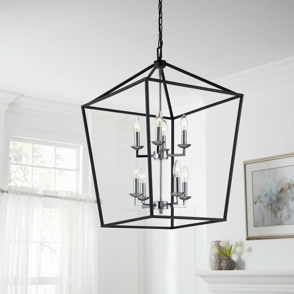 Home Decorators Collection Weyburn 8 Light Black And Polished Chrome Caged Chandelier In 2020 Polished Chrome Chandelier Decor