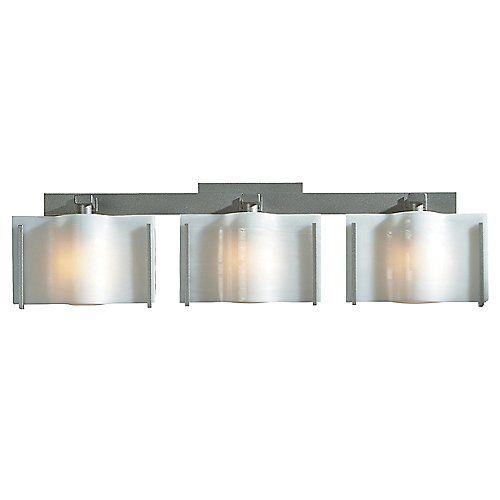 Exos wave bath bar smoke ivory 3 lights open box return bathroom light fixturesbathroom lightingaccent lightingpendant