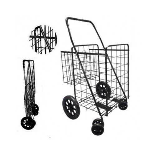 Foldable Grocery Cart Shopping Large Collapsible Wheels Utility ...