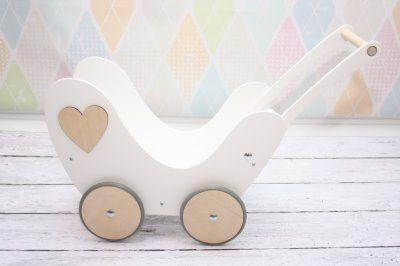 Wózek dla Lalek Drewniany__Natural_ pchacz+pościel