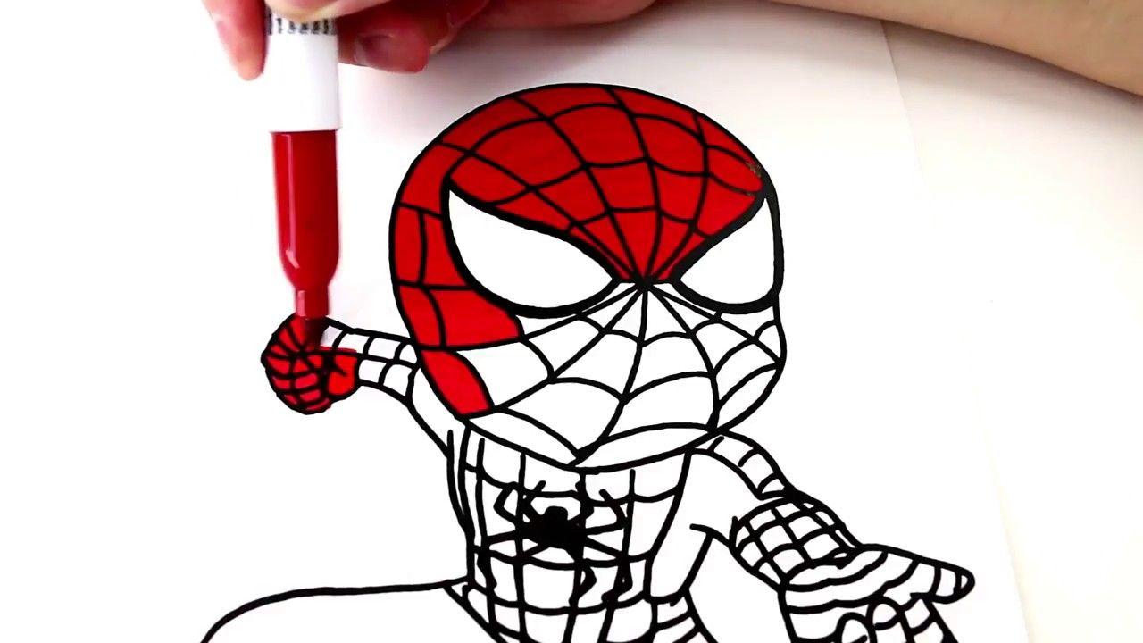 تعلم كيفية رسم وتلوين سبايدرمان للاطفال كرتون اطفال Spiderman