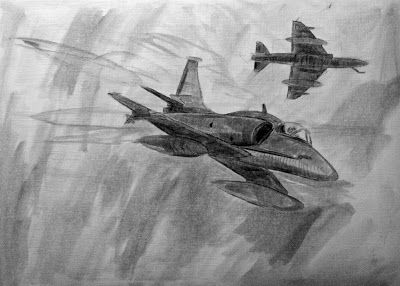 Óleo de Skyhawks de la Marina Argentina en Malvinas 1