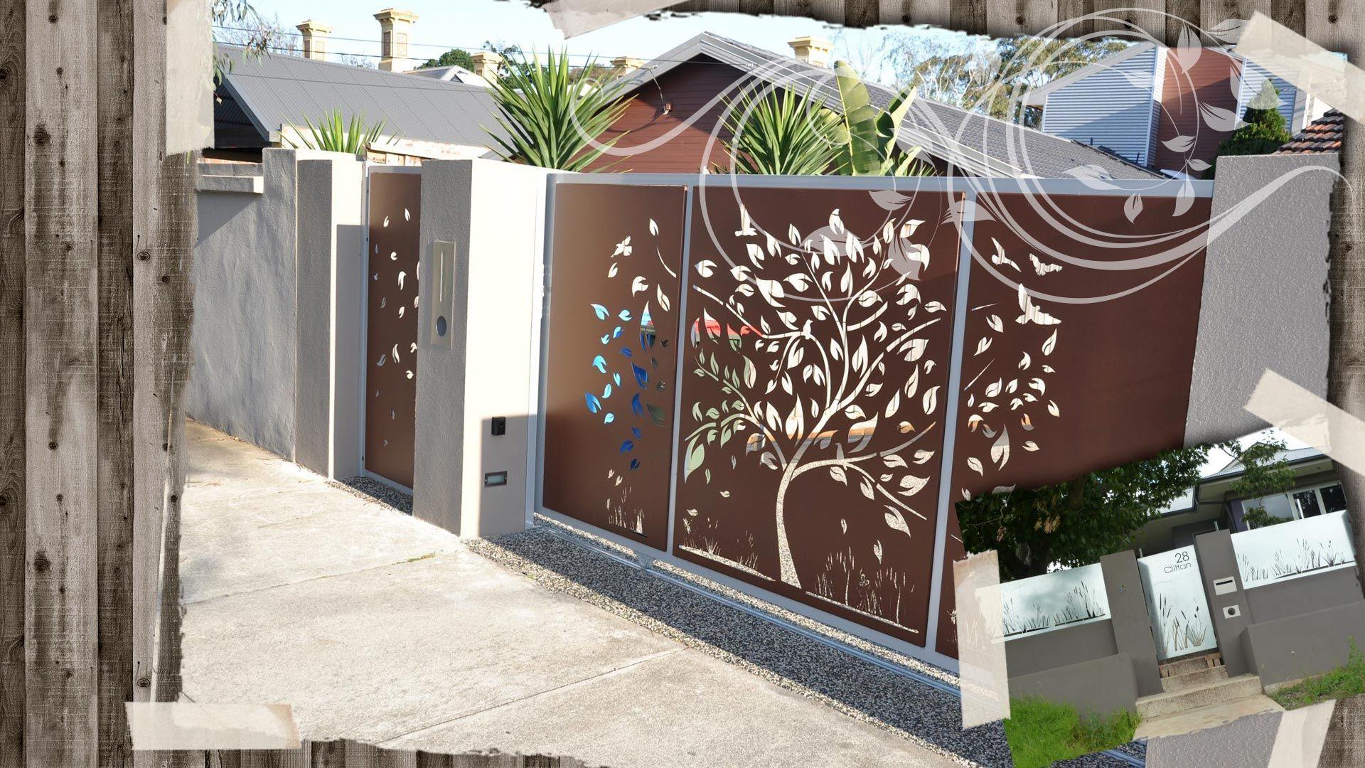 Poboxdesigns bg gates corten steel laser cut outdoor for Laser deco maison