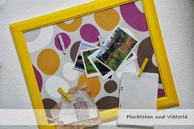 Notizboard aus altem Bilderrahmen und Stoffrest / Memoboard made of old frame and fabric