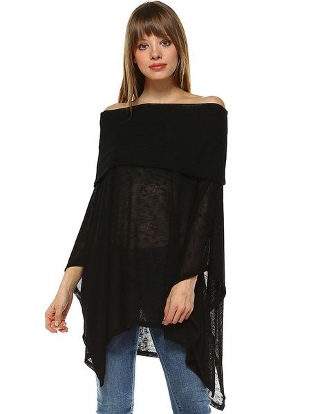 "Shop Poncho and Capes - Off Shoulder Casual Batwing Poncho And Cape online. Discover unique designers fashion at StyleWe.com. Free size? One size fits all not politically correct? Neck and lengh emphasis, solid dark color eye fooler, does not emphasize bust, waist, hip ""flaws"""